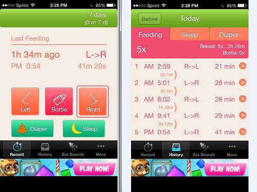 Nursing Timer de las mejores app para el cuidado del bebé